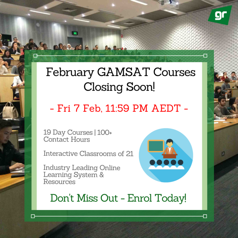 February 2020 GAMSAT Course Closure