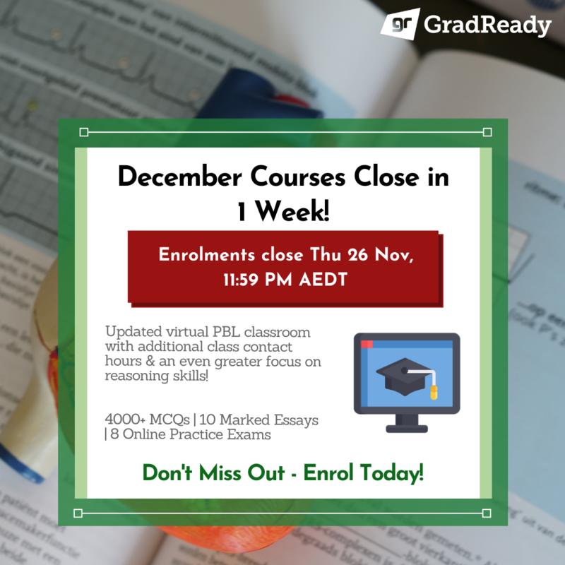 GradReady December GAMSAT Courses Closing Soon