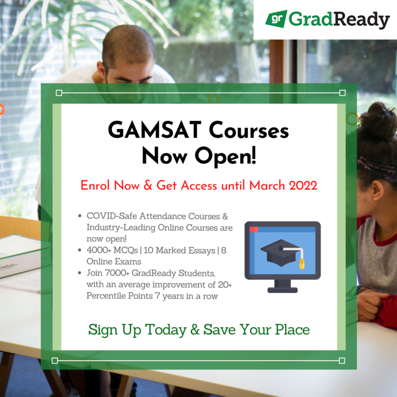 GradReady GAMSAT Courses Now Open for 2021-2022