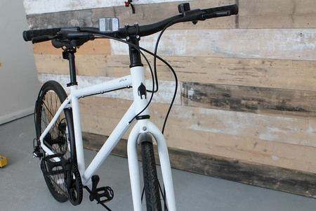 Front view bicycle frame matte white