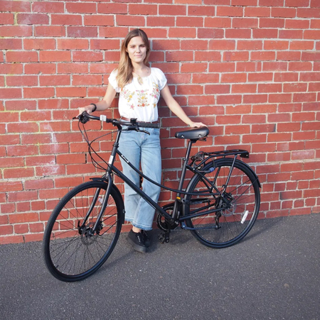 imogen abandowitz with iamfree bicycle