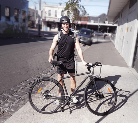 Henrik olander hjalmarsson in brunswick with an iamfree bicycle
