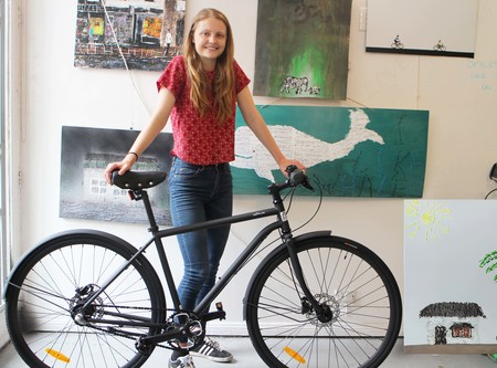 Molly gibson with 3 speed nexus bicycle
