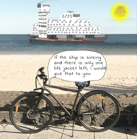 Big ship and bicycle