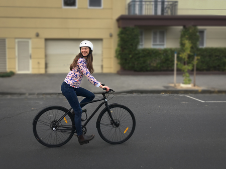 Lea wearne riding her bicycle