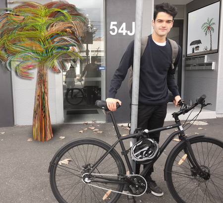 Patrick gianni with city bicycle