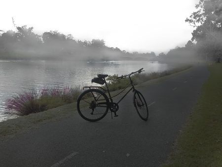 Misty morning yarra river and classic bicycle