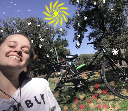 Breanna skewes lots of flowers and a bicycle