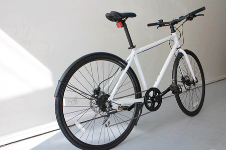 Matte white bicycle back perspective