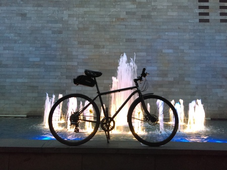 Bicycle in front of a fountain