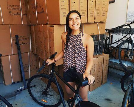 Jacinta le with iamfree bicycle