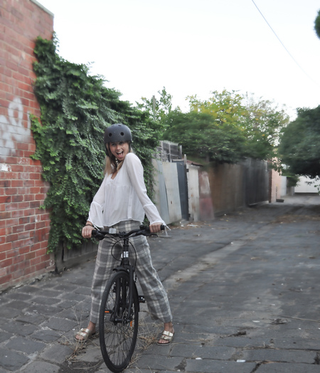 Issy on i am free bicycle legendery pose