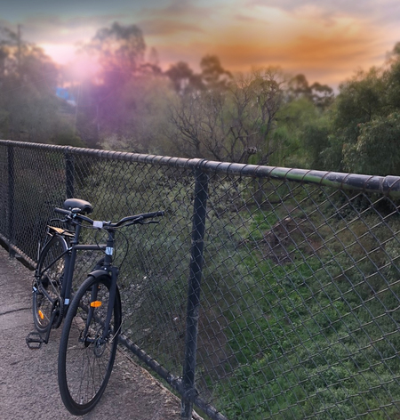 Bicycle and the sunset near parkland