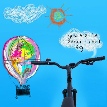 Bicycle handlebar hotair baloon cartoon