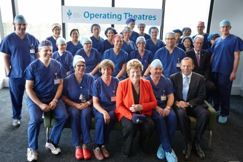 State Health Minister Jillian Skinner, Prime Minister Tony Abbott and Adventist HealthCare Limited CEO Dr. Leon Clark met San Operating Theatre Staff