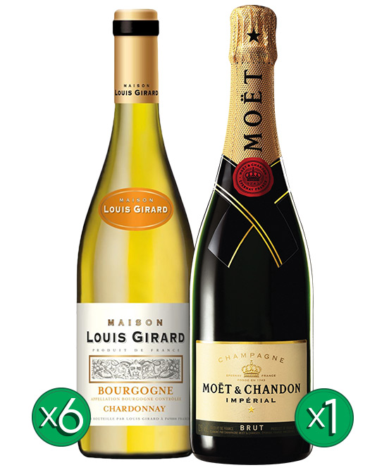 Maison Louis Girard Bourgogne Aoc Chardonnay Blanc 2015 & Moet Bundle