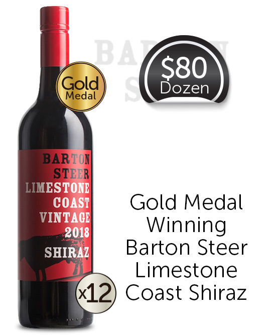 Barton Steer Limestone Coast Shiraz 2018 Dozen