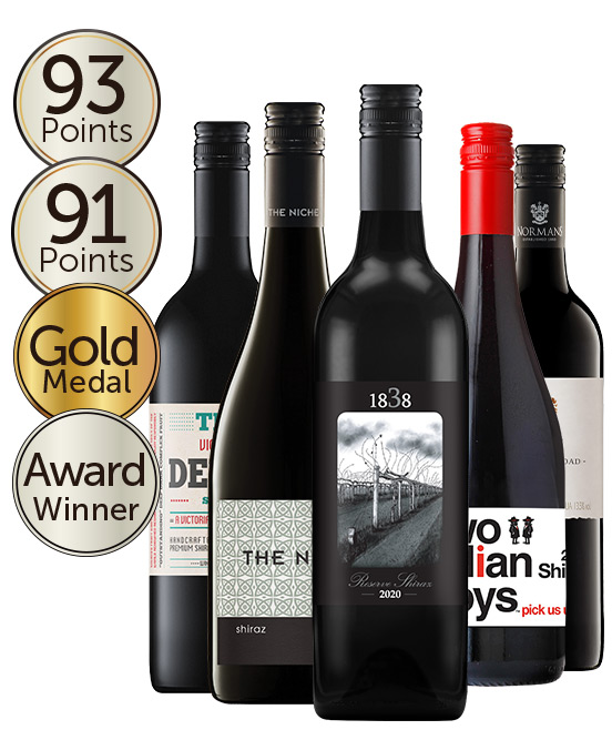 $80 Multi Gold Medal Winning 95 Point Rated Shiraz Mixed Dozen