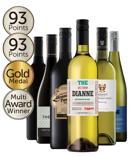 $80 Gold Medal Winning 93 Point Rated Red & White Mixed Dozen