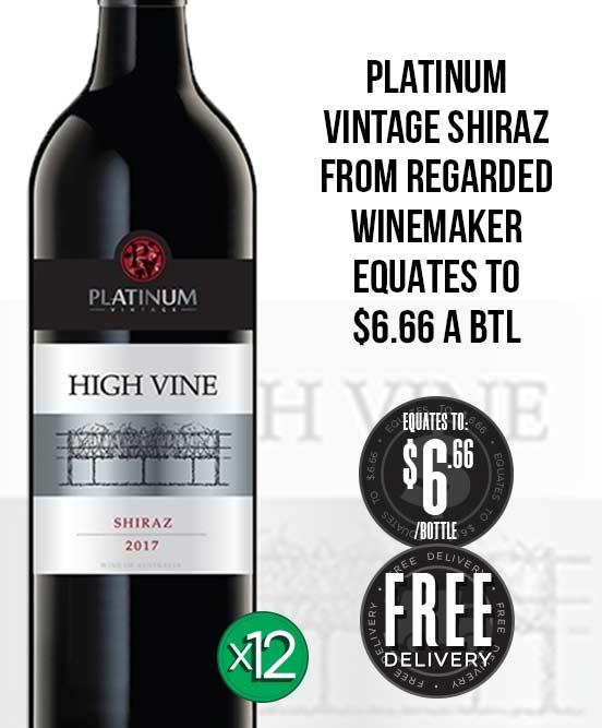 Platinum Vintage High Vine Shiraz 2017 Dozen