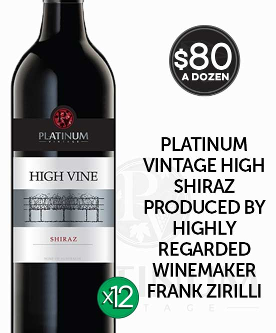 Platinum Vintage High Vine Shiraz 2018 Dozen