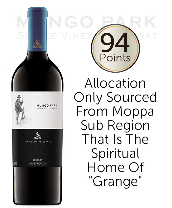 The Colonial Estate Mungo Park Single Vineyard Old Vine Barossa Valley Shiraz 2018
