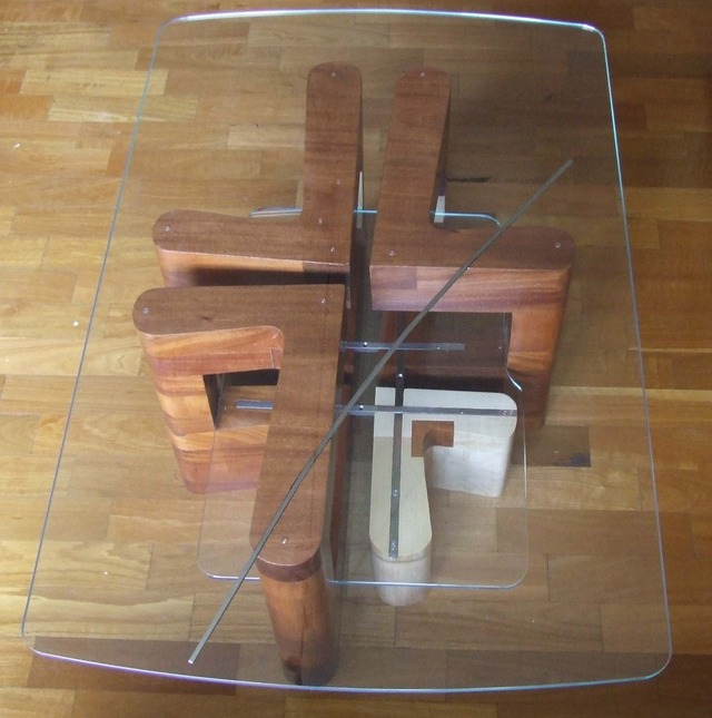 Coffee Table by Michael Zolotarev - African Mahogany, American Rock Maple, Stainless Steel, Glass