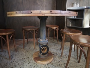 Cafe Table by Josh Pinkus - Cafe Table, Industrial, Reclaimed, Recycled, Tallowwood, Round Table