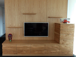 Sculptural Wall Unit by Aidan Morris - Sculptural, Wall Unit, Storage, American Oak, Timber