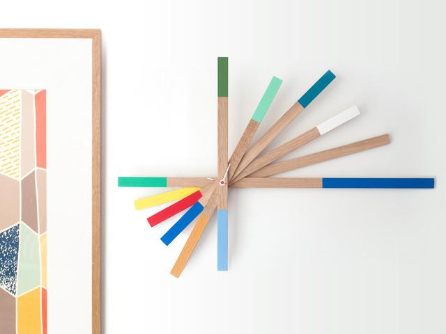 AMERICAN WHITE OAK CLOCK -  HAND PAINTED STARBURST WALL ART by Senkki Furniture - Wall Art, Wood Wall Art, Wooden Wall Art, Housewares, Wall Hanging, Modern Wall Art, Paint Dipped, Hand Painted, Clock, Starburst