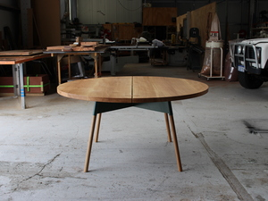 Vincent Dining Table by Spencer Parks - Dining, Table, Outdoor, Oak, Powdercoat, Metal