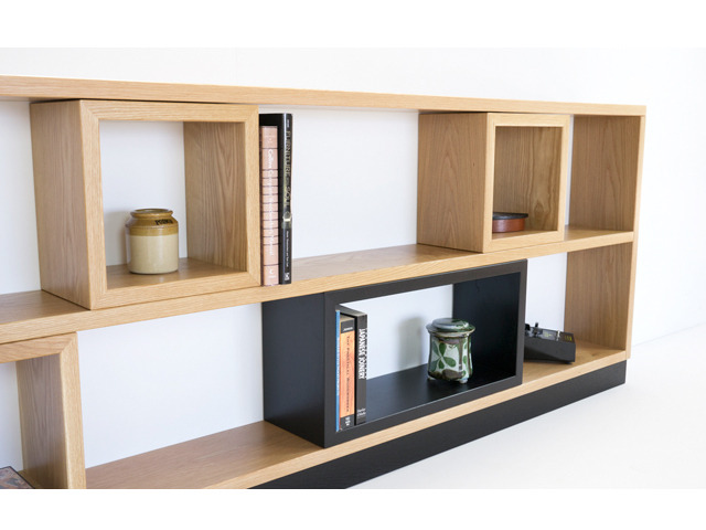 'Contained' Bookcase by Nathan Day Design - Modular, Bookcase, Storage, Shelving, Modern, Made To Order, Custom Furniture, Oak, Black, Solid Timber