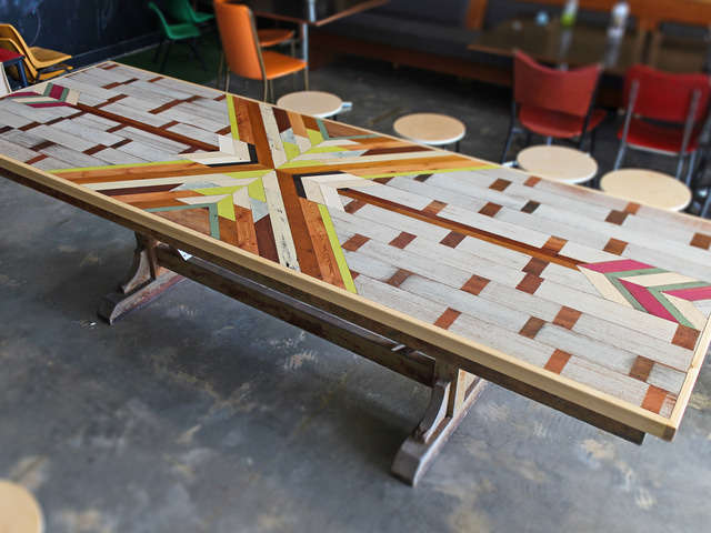 Delilah's Kitchen Table by A Good Looking Man  - Parquetry, Pattern, Table, Dining, Kitchen, Reclaimed