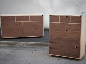 Bulle Cabinets by Curious  Tales - Bulle Cabinets, Drawer Units, Walnut, Birch Ply, Ply, Conteporary, Modern