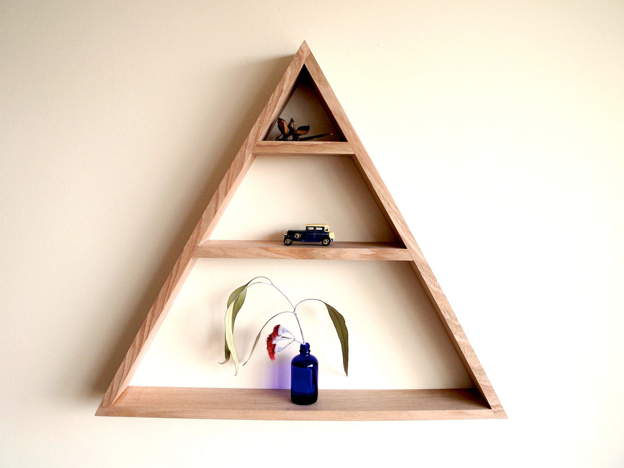 The triangle shelf by patrick holcombe handkrafted - Triangular bookshelf ...