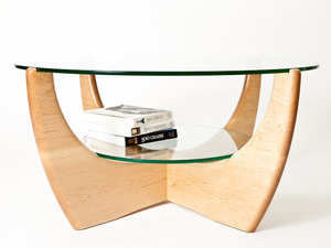 Maple coffee table 2 tier by Peter Walker - Round Coffee Table, Glass, Maple Coffee Table, Coffee Table, Table With Shelf