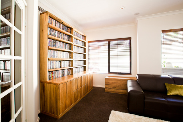 DVD display cabinet by Peter Walker - Marri Bookcase, Dvd Storage, Sideboard, Display Case, Shelving Unit, Marri Furniture, Bookcase, Dovetails