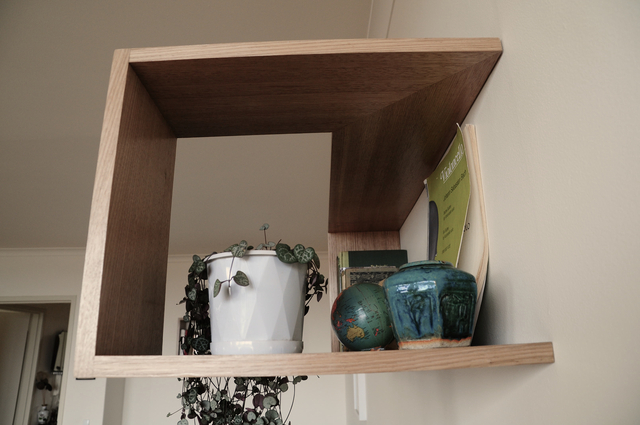 The Hover Shelf.  by Patrick Holcombe - Wall Shelf, Book Shelf, Corner Shelf, Hardwood, Tassie Oak, Box Shelf