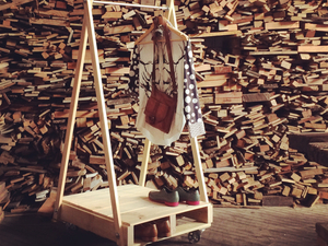Pallet Coat Rack by Natasha Dickins - Recycled, Pallet Furniture, Shop Fitout, Retail, Fashion, Coat Rack, Storage, Storage Solution, Wardrobe, Garment Rack