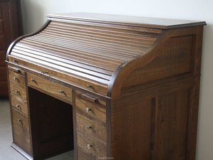 Silky Oak Rolltop Desk by Christopher Lyon - Rolltop Desk, Traditional