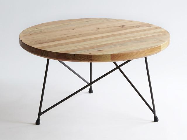 Radius Coffee Table by Sankhara Co - Recycled, Reclaimed, Raw, Steel, Welded, Oregan, Douglas Fir, Satin Finish