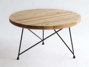Radius Coffee Table by Sankhara Co - Recycled, Reclaimed, Raw, Steel, Welded, Oregan, Douglas Fir, Satin Finish