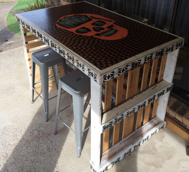 Skull / High bench table by Cam Darling - Dining Table, Bar Table, Parquetry, Pallet Furniture