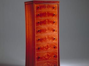 Sylvia Tall Chest by Anthony (Neil) Erasmus - Tall Boy, Chest, Drawer Chest, Drawers, Fiugured Veneer, Secret Drawer, Collectors Chest