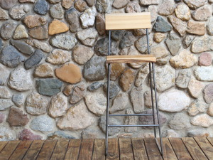 Natural edge stool by James Talty - Timber Stool, Steel Frame Stool