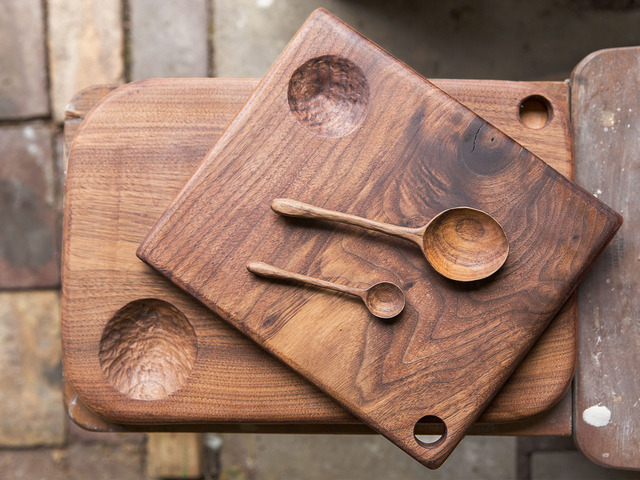 Hand Carved Walnut Serving Boards + Hand Carved Walnut Spoons by Hearth Collective - Walnut, Woodwork, Carving, Handmade, Serving Board, Chopping Board, Carved, Spoon