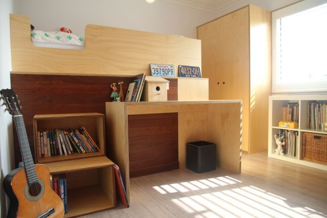 Kids bedroom fit out  by Maeker Studio - Plywood, Danish, Scandinavian, Cabinetry, Kids, Children, Bedroom, Desk, Bunkbed, Windows