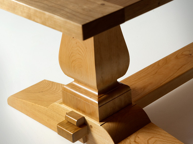 Natural Cherry wood Trestle Table by Nick Bailey - Dining Table