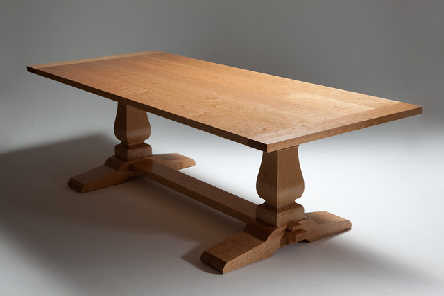 natural cherry wood trestle table by nick bailey handkrafted. Black Bedroom Furniture Sets. Home Design Ideas