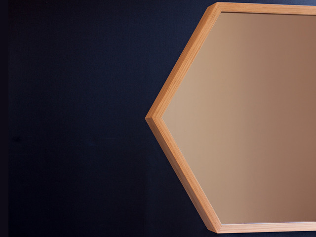 Hex Mirror by Relm Furniture - Oak, Mirror, Bronze, Lifestyle, Custom, Bespoke, Hex, Geometric, Luxe, Furniture